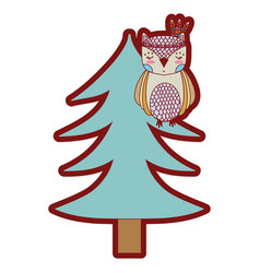 line color ethnic owl animal in pine tree vector image