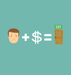 Man find a way out sad face plus money equal to vector