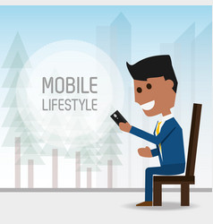 Man seated with smartphone in the hand vector