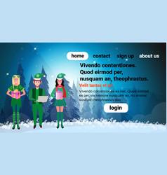 man woman wearing elf costume happy new year merry vector image