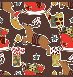 Merry christmas seamless brown pattern background vector