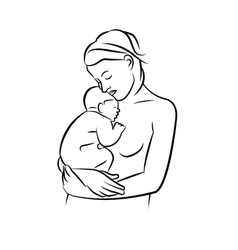 Mother with baby linear silhouette vector image