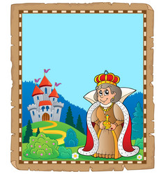 Parchment with queen near castle 3 vector