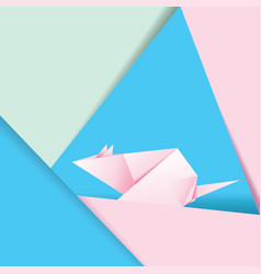 Pink origami mouse vector