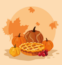 Pumpkins for thanksgiving day with pie vector
