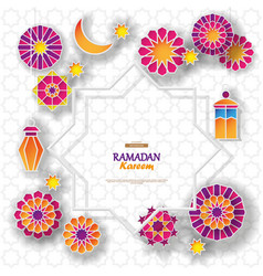 Ramadan kareem concept banner with islamic vector