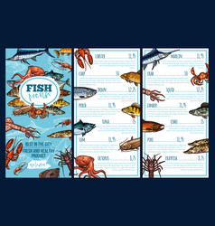 Seafood restaurant menu template with fish sketch vector