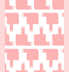 seamless pattern middle finger up background vector image