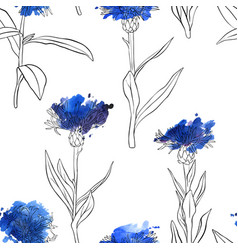 Seamless pattern with drawing cornflowers vector