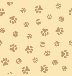 seamless pattern with pet pawprints and balls vector image