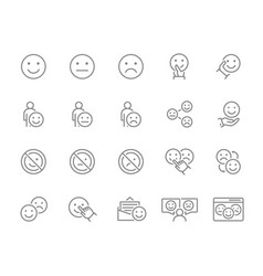 set emotion feedback line icons testimonials vector image