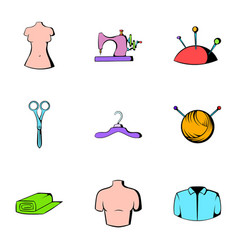 Sewing machine icons set cartoon style vector