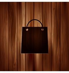 Shopping basket icon Wooden texture vector