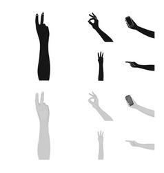 Sign language blackmonochrom icons in set vector