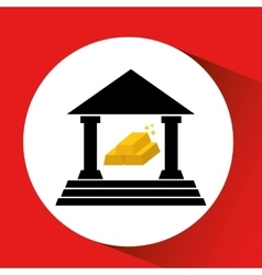 silhouette bank building golden bars icon orange vector image