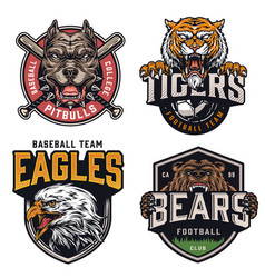 sports teams vintage colorful logotypes vector image