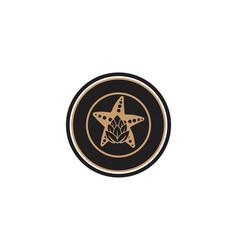 star fish and hop emblem brewing logo designs vector image