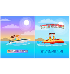 Summertime posters collection vector