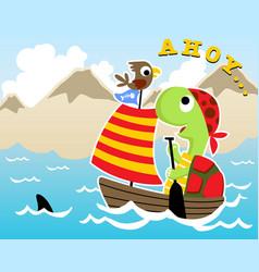 Turtle and bird cartoon sailing on sailboat vector
