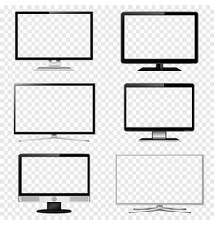 tv screen and computer monitor set with vector image