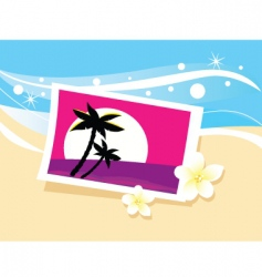 Vacation photo in sand illustration vector