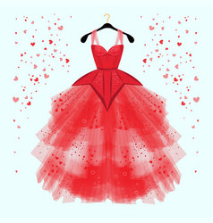 Valentine day party dress with fancy heart decor vector