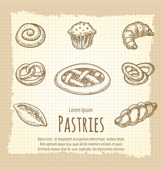 vintage poster bakery products vector image