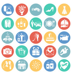 wedding icons set on color circles background for vector image