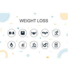 Weight loss trendy infographic template thin line vector