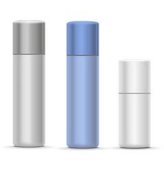 White and silver bottles aerosol spray metal vector