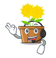 with headphone dahlia flower in the character pots vector image