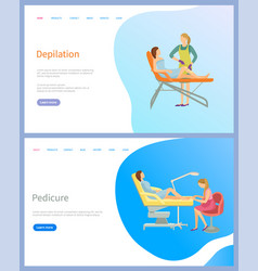 Woman depilation and pedicure web page vector