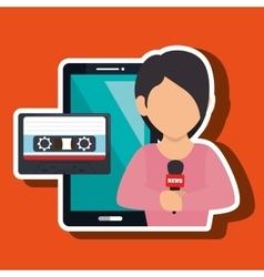 Woman news cassette radio vector