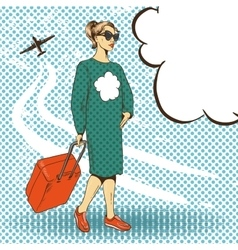 woman with travelling case vector image