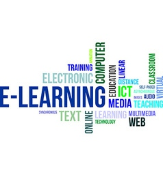 word cloud elearning vector image