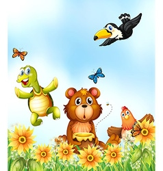 Animals in the flower garden vector image vector image