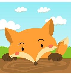 Close up Cute Red Fox Cartoon vector image