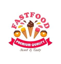 Fast food ice cream dessert for cafe design vector