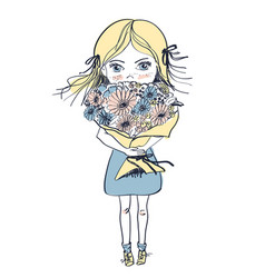 little freckles girl with big bouquet of flowers vector image