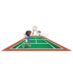 Two kids playing tennis vector image vector image