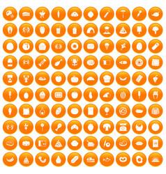 100 favorite food icons set orange vector image