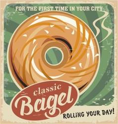 Bagel bakery vintage poster design vector image vector image