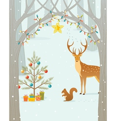 Christmas forest vector image