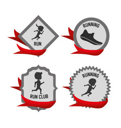silhouette set icon related with running and vector image vector image