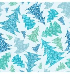 Snowflake Textured Christmas Trees seamless vector image vector image