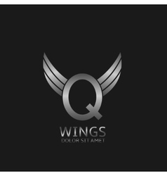 Wings Q letter logo vector image vector image