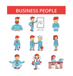 business people thin line icons vector image vector image