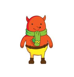 Cheerful cartoon fox character wearing scarf an vector