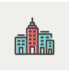 Condominium building thin line icon vector image vector image