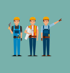 construction workers holding blueprint spatula vector image
